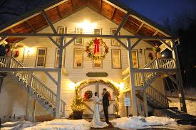 Bride And Groom Holding Hands At Rustic Wedding Venue Christmas Farm Inn Spa In Jackson