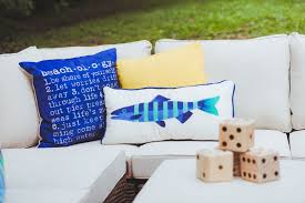 Pier One Blue Throw Pillows by Coastal Summer Backyard Party With Pier 1 Shannon Claire