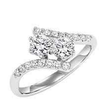 DIAMOND JEWELRY Two her 1cttw 2 Stone Plus Bypass Diamond Ring