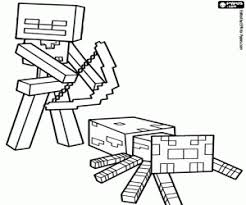 Spider Jockey Of Minecraft First House Coloring Page