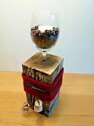 details zu kerzenständer holz glas stehle tischdeko dekoration design wein kaffee kerzen
