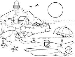 Beach Scene Coloring Pages For Kids