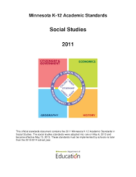 Minnesota K 12 Academic Standards Social Studies 2011 This Official Document Contains The