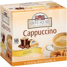 Keurig Pumpkin Spice Coffee Nutrition by Grove Square Caramel Cappuccino 18 Single Serve Cups Walmart Com