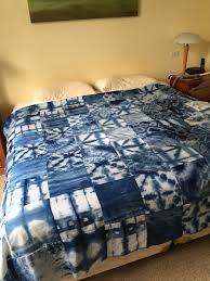 Blue Tie Dye Bedding by Quilt Created From Shibori Indigo Fabrics Created By Lisa Walton