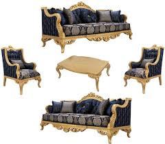 casa padrino luxus barock wohnzimmer set dunkelblau gold 2 sofas 2 sessel 1 couchtisch prunkvolle barock wohnzimmer möbel