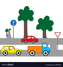 100 Trucks And Cars And Cars On The Road Royalty Free Vector Image