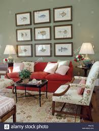 gruppe fisch druckt über dem roten sofa in hellem grau