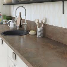 stratifié pour cuisine plan de travail stratifié effet cuivre mat l 315 x p 65 cm ep 38 mm