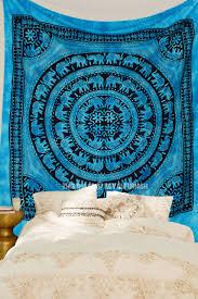 blue tie dye elephant mandala tapestry throw hippie bedding indian