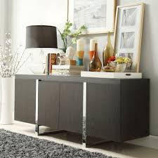 Black Table Lamp And Stylish Picture Using Grey Rug For Modern With Dining Room Buffet Decorating