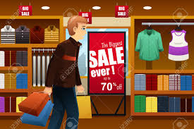 Illustration Of Man Shopping At A Clothing Store Inside Mall