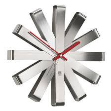 umbra wall display ribbon wanduhr küchenuhr wohnzimmeruhr uhr edelstahl stahl 118070590