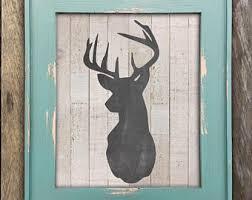 Fixer Upper Decor Rustic Deer Head Print Farmhouse Wall Wood Art