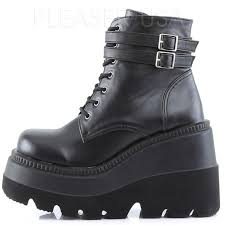 shaker 52 lace up front stacked wedge ankle boot gothic ankle
