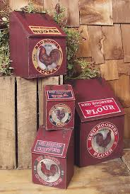Hinged Wooden Rooster Kitchen Canisters