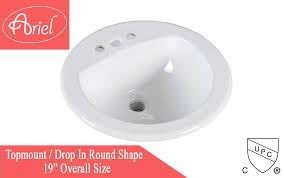 Drop In Bathroom Sink Sizes by Porcelain Ceramic Vanity Drop In Bathroom Vessel Sink 19 Inch Round