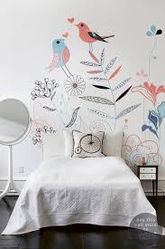 tapisserie chambre fille ado deco chambre fille papier peint fleurs et oiseaux le déco