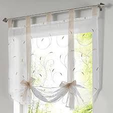 souarts raffrollo stickerei blumen voile raffgardine transparent gardine vorhang schlaufenschal deko für wohnzimmer schlafzimmer studierzimmer 1pc