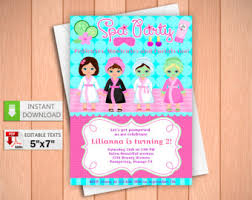 Printable Invitation SPA Party In PDF With Editable Texts Beauty Spa For Girl