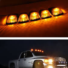 100 Running Lights For Trucks 5 Smoked Lens Cab Roof Marker Lamps W Amber LED