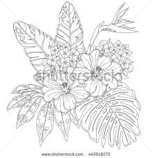 Tropical Flowers And Leaves Page Of Coloring Book For Adults Children Art Therapy