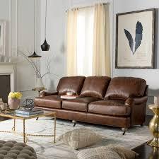 Safavieh Couture Calvin Brown Leather Sofa
