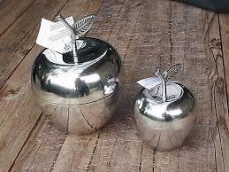 alu apfel mit deckel groß dekoration dose silber tisch küche