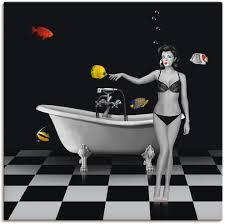 artland wandbild ein badezimmer für fische frau 1 st in vielen größen produktarten alubild outdoorbild für den außenbereich leinwandbild