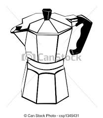 Coffee Pot Black And White Stock Illustration