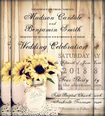 Rustic Country Sunflowers Mason Jar Wedding Invitation Template