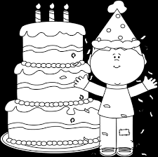 Black and White Boy with Birthday Cake and Confetti