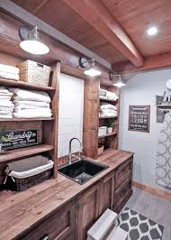 Rustic Laundry Room Cabinet With Hutch