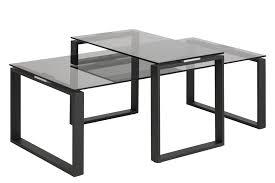 2tlg couchtisch set glastisch sofatisch beistelltisch wohnzimmer tisch metall