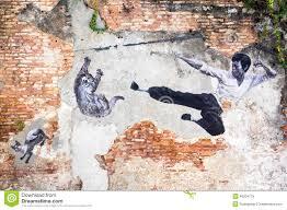 famous street art mural in georgetown penang malaysia editorial