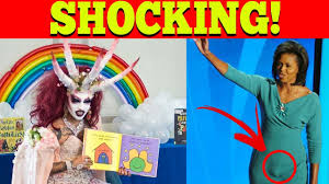 Michelle Obama Empty Chair by Satanic Drag Queen Reads To Kids At Michelle Obama Library
