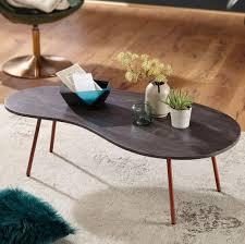 design couchtisch jai 122x34 5x63 cm akazie mit metallbeinen kupfer nierentisch massivholz grau holztisch tischbeine metall cooler