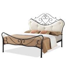Sears Metal Headboards Queen by Baxton Studio Alanna Queen Size Chic Metal Platform Bed With Beige