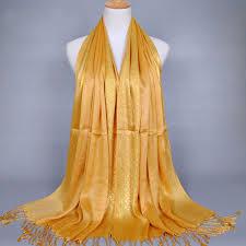 180 60cm women ladies glitter shine cotton blend tassel scarf