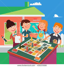 Happy Family Playing Board Game Parents And Children Vector Illustration