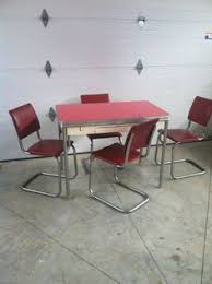 50s Retro Chrome Table That Extends W Drawer 4 Red Chairs Kitchen Dining Set