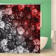 badezimmer dusche vorhang abstrakte blume muster schwarz und rot schöne schönheit blüte 66x72 zoll wasserdicht bad vorhang set