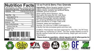 Pumpkin Flaxseed Granola Nutrition Info by 42oz Fruit U0026 Berry