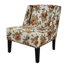 DecentHome DecentHome Floral Print Fabric Lien Chair For Living ...