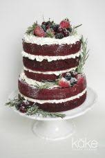 Naked Red Velvet Rustic Buttercream Berries And Herbs Wedding Cake