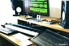 Music Studio Desk Workstation Mesmerizing Home In Recording Wood Simple 7