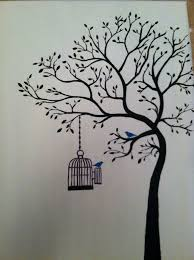 Tree Painting With Birdcage Nice Wall Mural Idea