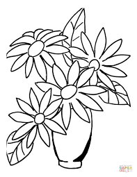 Click The Flower Bouquet In A Vase Coloring Pages To View Printable Version Or Color It Online Compatible With IPad And Android Tablets