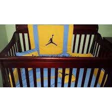 jordan blue and gold crib bedding set