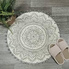 uphome runder kleiner teppich 61 cm mit schickem pompon fransen boho grau mandala badezimmer teppich weich rutschfest samt boden überwurf